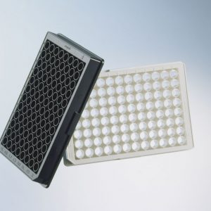 CELLSTAR,96W Plate,PS,Sterile,TC Treated,F-BOT,Chimney Style,BLK/uCLR,Lid 32/cs