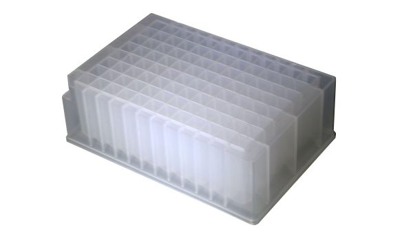 2.2ml 96-Well Deep-Well Plates, Clear, SQ Well, V-bottom, NS, 5/PK, 10PKS/CS